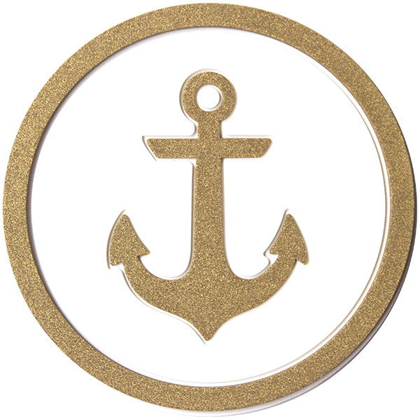 Anchors Aweigh Coaster - White & Gold