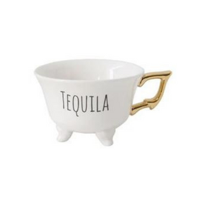 Footed Teacups with Gold Handle
