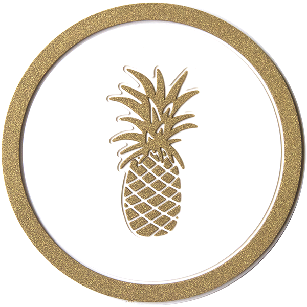 Pineapple Coaster - White & Gold