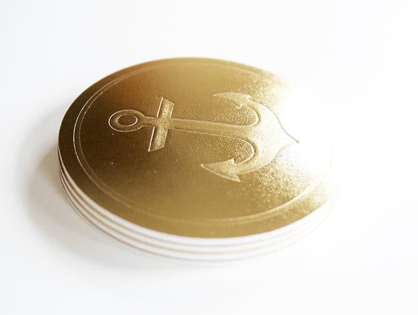 Metallic Gold Leather Anchor Coaster