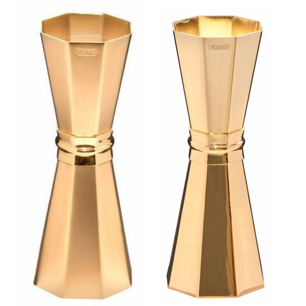 Gold Japanese Faceted Jigger - Matte or Shiny