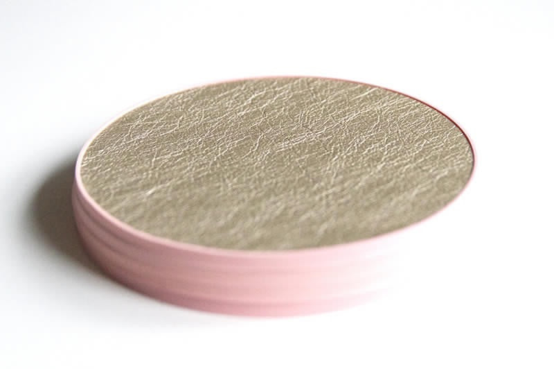 Gold Leather Coaster with Blush Pink Base