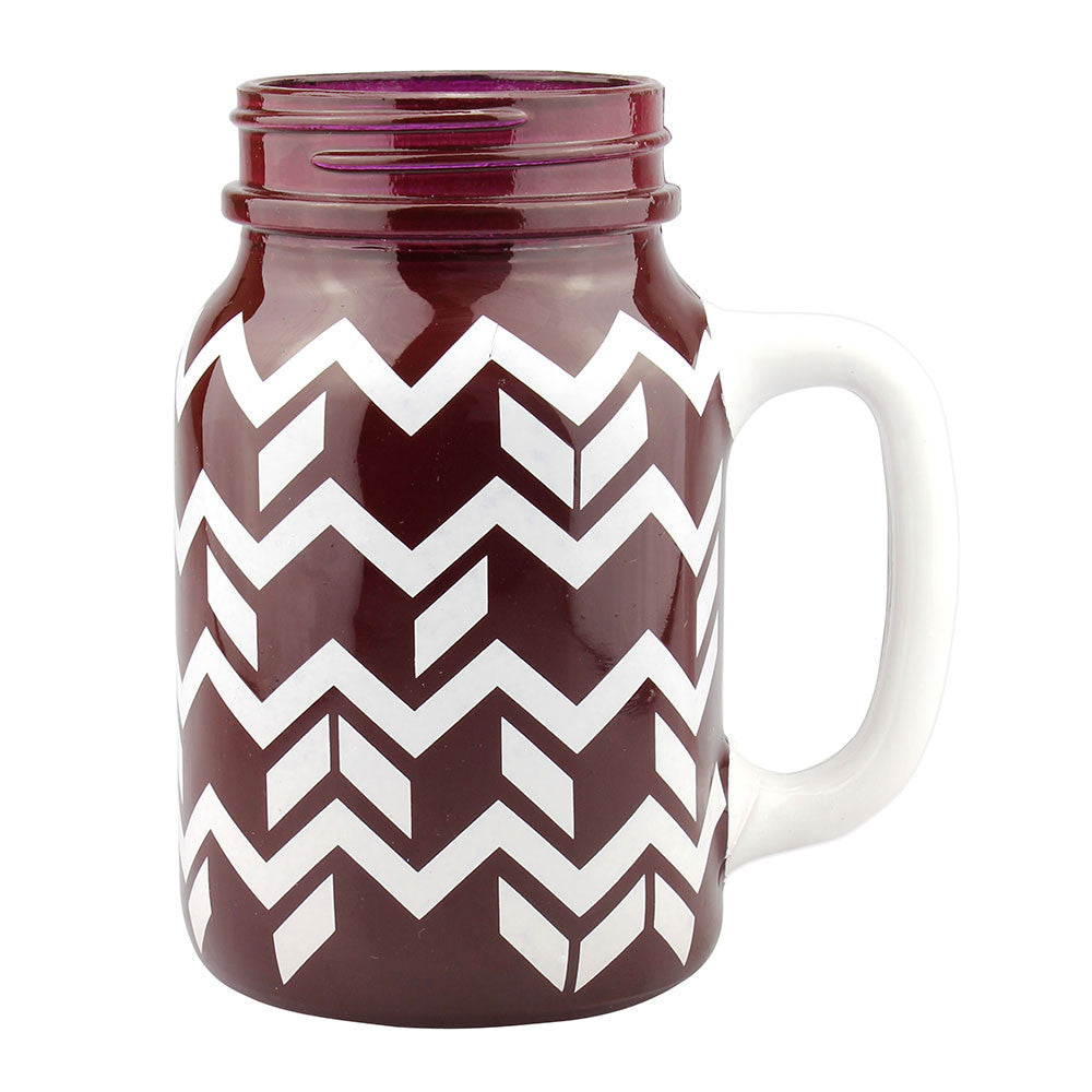 Painted Mason Jar - Burgundy & White