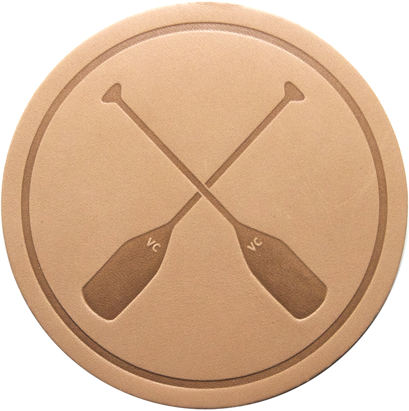 Crossed Paddles Tan Leather Coaster