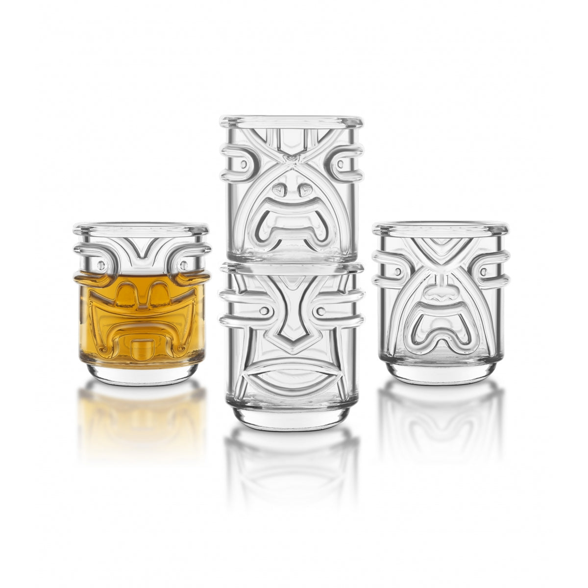 Clear Polynesian God Tiki Glasses