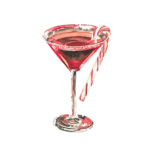 Candy Cane Martini Greeting Card