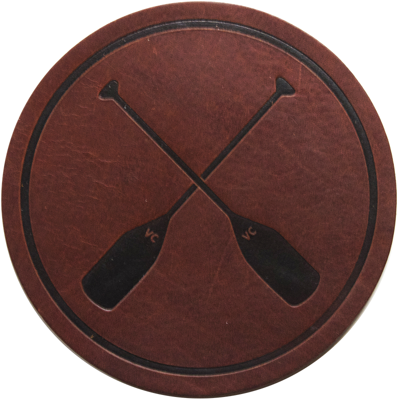 Crossed Paddles Dark Leather Coaster