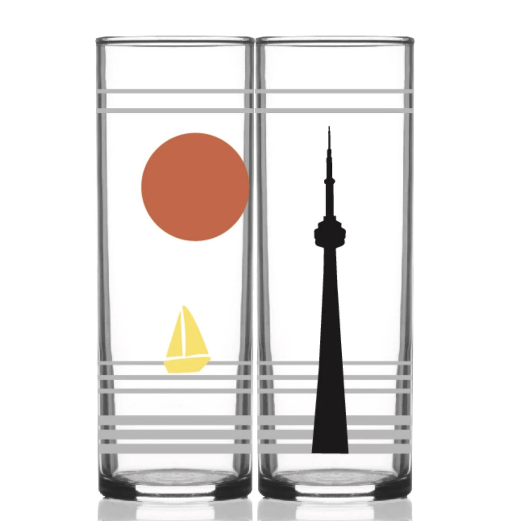 Retro Toronto Collins Glass red sun black CN Tower