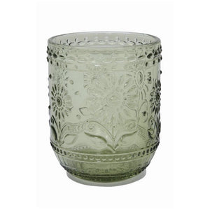 Green Embossed Glass Tumbler