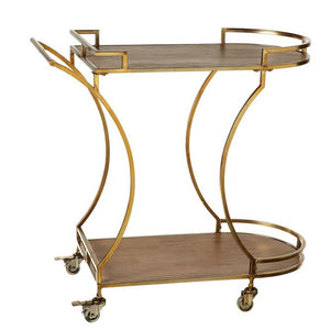 Gold Two-Tiered Bar Cart with Wood Shelves