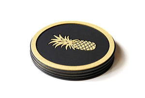 Pineapple Coaster - Black & Gold
