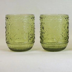 Green Embossed Glass Tumblers