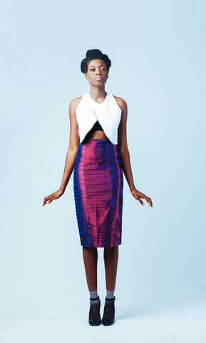 Ameyo Awula Handwoven Metallic Violet Pencil Skirt