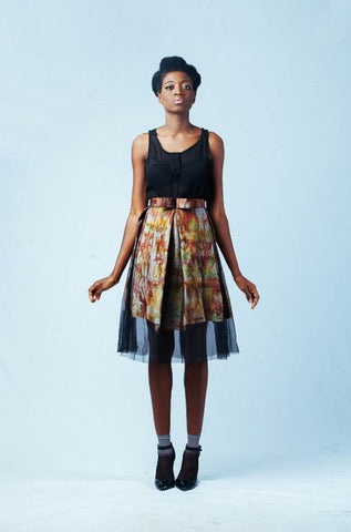 Ameyo Marble and Organza Skirt