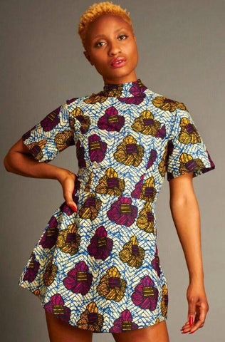 Mafrika Turtle Neck African Floral Print Dress