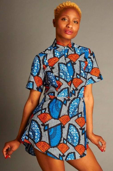 Mafrika Mia Fan Print Shirt Dress