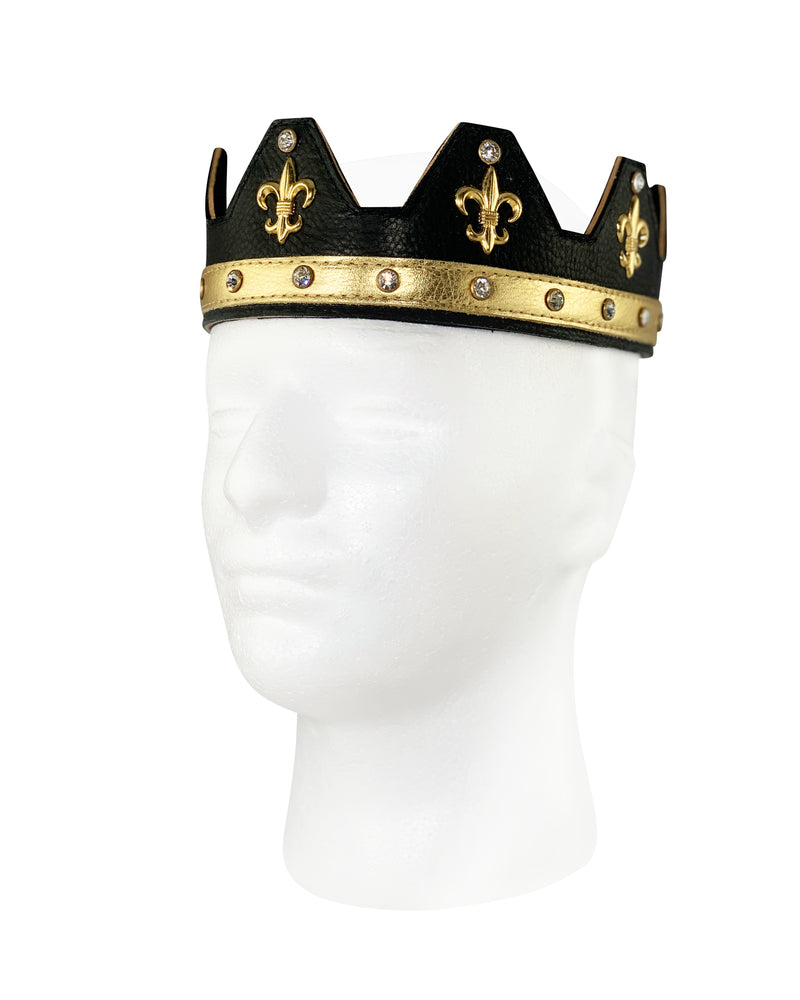 black leather handcrafted crown with fleur-de-lis accents and rhinestones