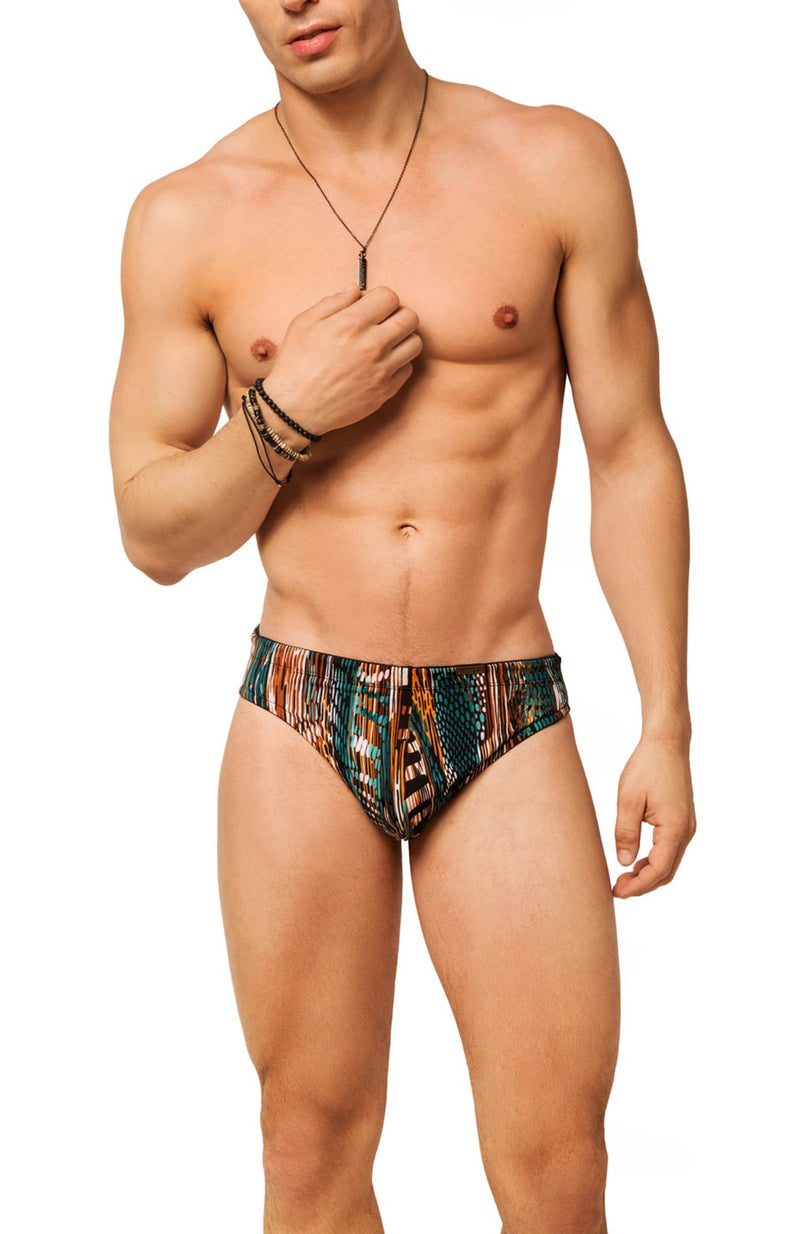 green and brown mens swimwear / swim brief