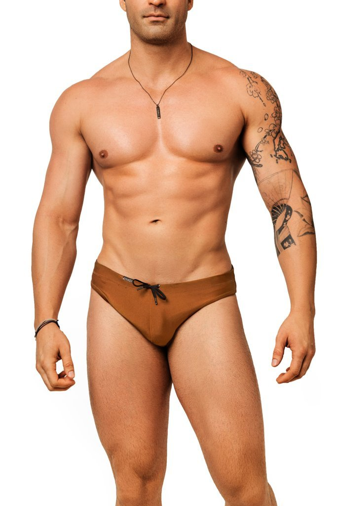 brown or tan mens swimwear / swim brief