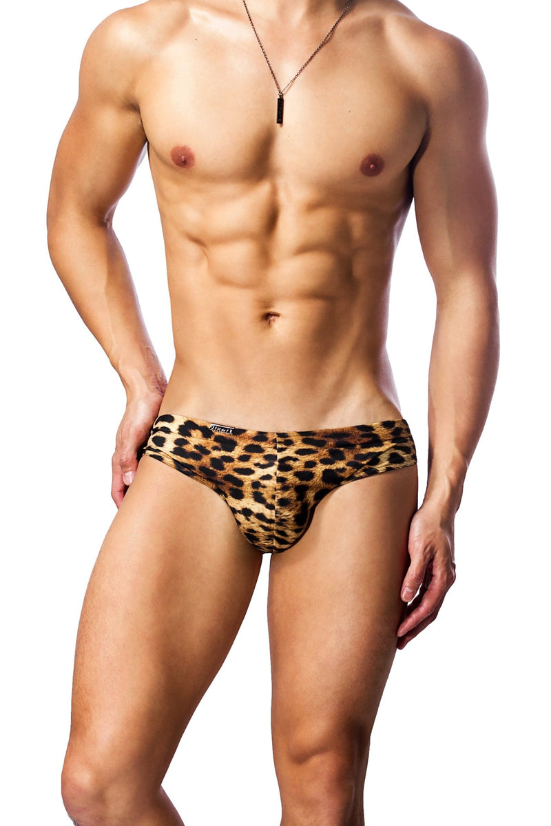 leopard print mens swimwear / swim brief