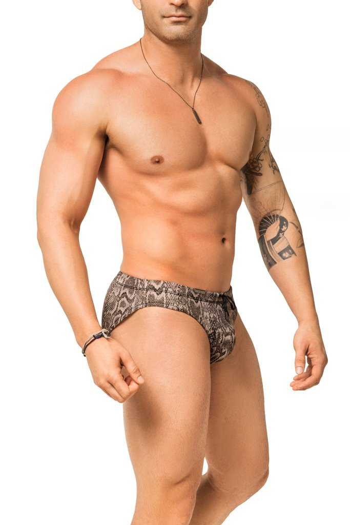 gray snake skin print mens swimwear / swim brief