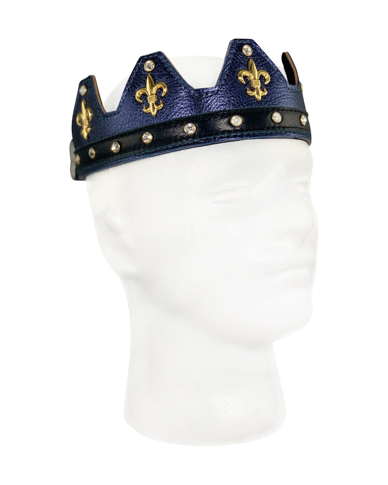Navy Blue Leather Crown - Jimaye