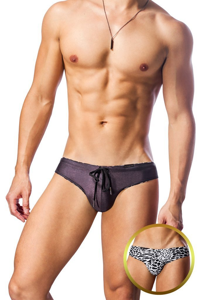 Plum / Snow Leopard Reversible Swim Brief - Jimaye