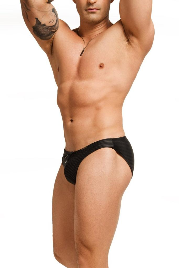 black with gray stripes mens swimwear / swim brief