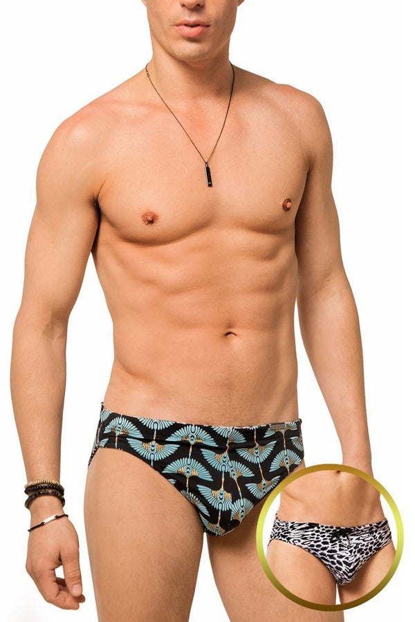 Snow Leopard / Golden Birds Reversible Swim Brief - Jimaye