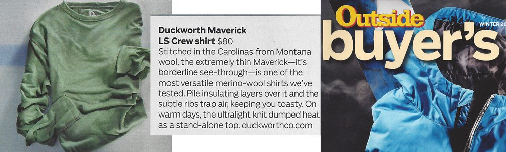 Men's Maverick LS Crew featured in Outside Magazine's Winter Buyer's Guide.
