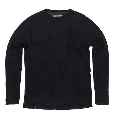 The Duckworth Comet Crew - a midweight mens Merino wool and polyester long sleeved shirt in color Black
