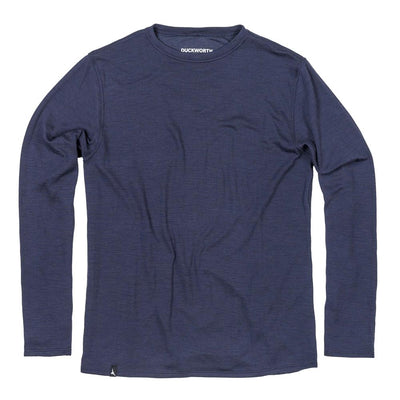 The Duckworth Comet Crew - a midweight mens Merino wool and polyester long sleeved shirt in color Midnight