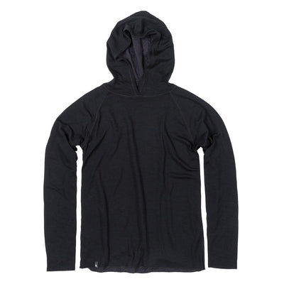 The Duckworth Comet Hoody - a midweight mens Merino wool and polyester hoody in color Black