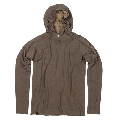 The Duckworth Comet Hoody - a midweight mens Merino wool and polyester hoody in color Dark Olive