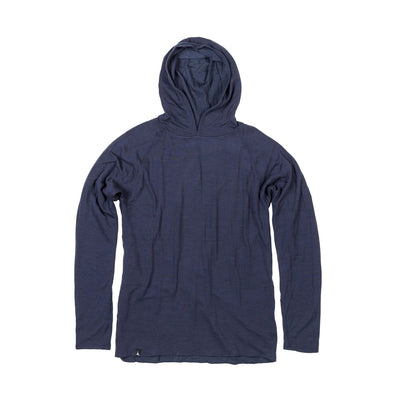 The Duckworth Comet Hoody - a midweight mens Merino wool and polyester hoody in color Midnight