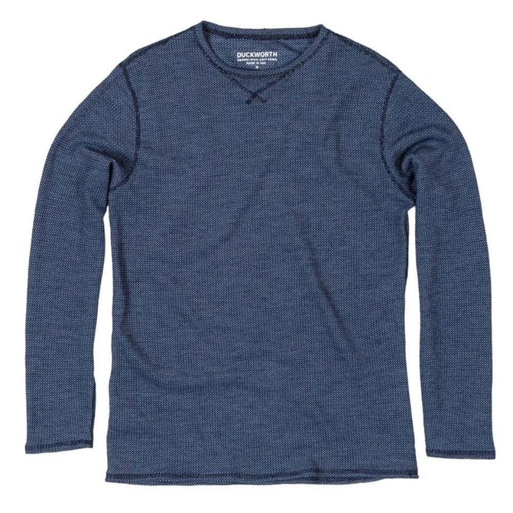 The Duckworth Polaris Crew - a lightweight mens Merino wool crew shirt in color Midnight