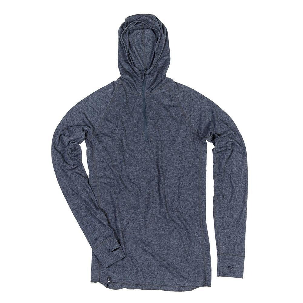 The Duckworth Vapor Snorkel Hood - A Lightweight Mens Merino Wool Hooded Pullover With 1/4 Zip In Color Charcoal