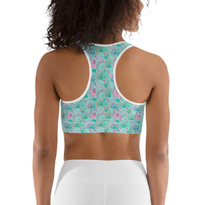 Teal Shells Women's Sports Bra