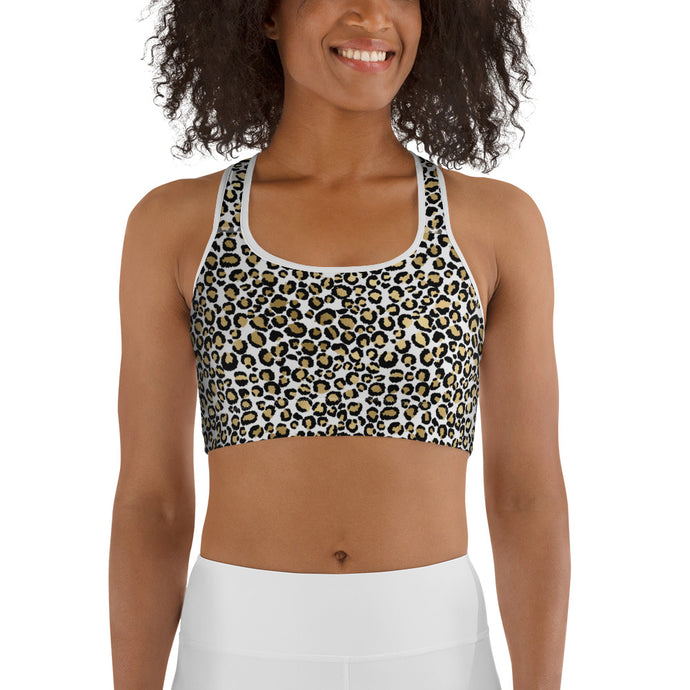 Gold Leopard Women's Sports Bra