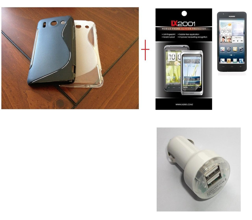 Huawei Ascend G510 Gel Case Dual USB Car Charger