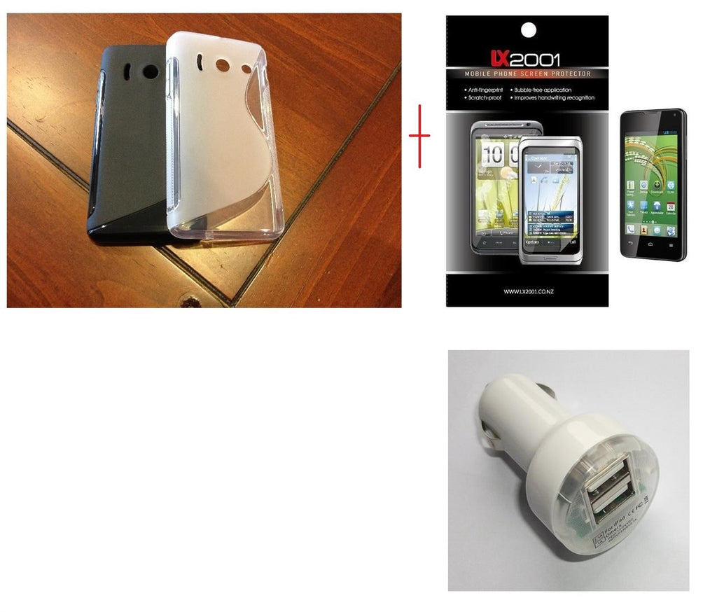 Huawei Ascend Y300 Gel Case Dual USB Car Charger