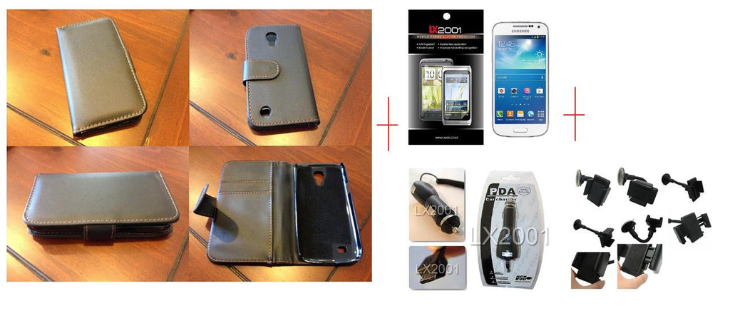 Samsung Galaxy S4 Mini Leather Case Charger Holder