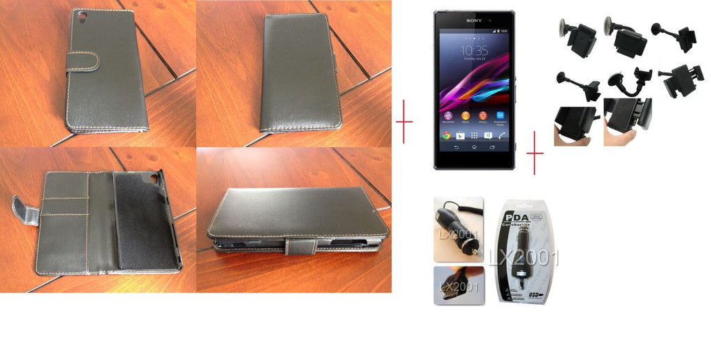 Sony Xperia Z1 Leather Case Car Charger Kit Holder