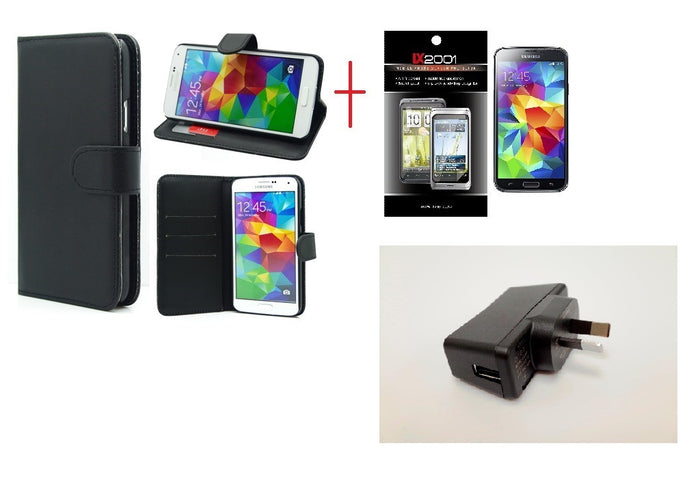 Samsung Galaxy S5 Wallet Leather Case Wall Charger