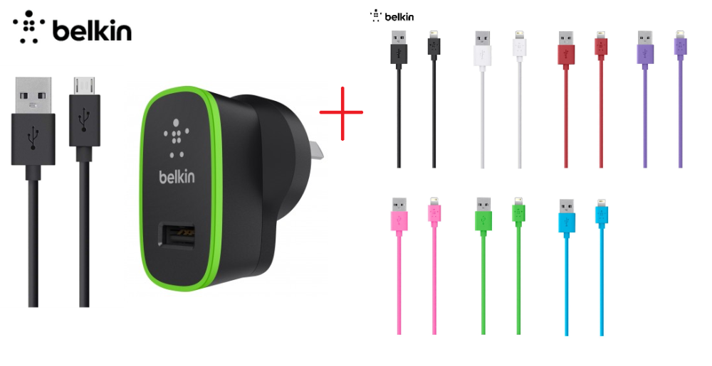 Belkin Wall Charger w Micro USB PC Cable Lightning