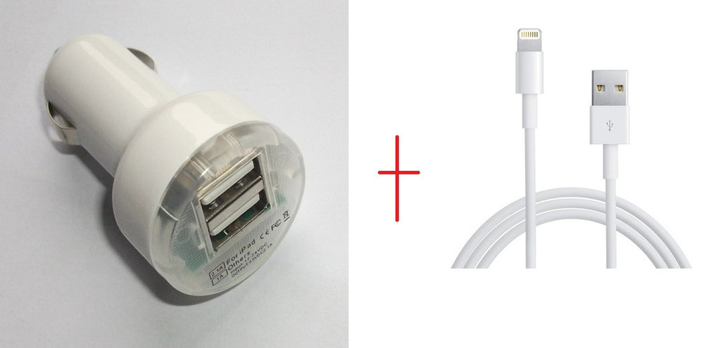 Dual USB Car Charger--3 + USB PC Cable