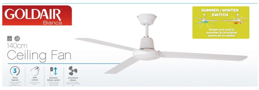 Goldair 140cm bianca ceiling fan gccf125 lx2001 mobile phone next aloadofball Image collections