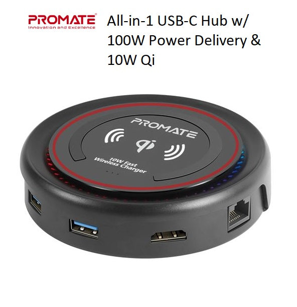 PROMATE_All-in-1_USB-C_Hub_w_100W_Power_Delivery_&_10W_Qi_-_Black_CENTERHUB.BLK_PROFILE_PIC_S3SFIE6J4NBD.jpg
