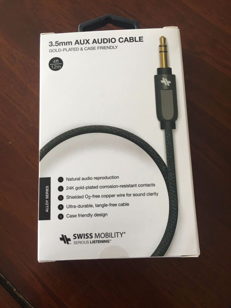 SWISS Alloy Series Auxiliary Cable (4 ft.) Gunmetal  SCAUXA-M 1
