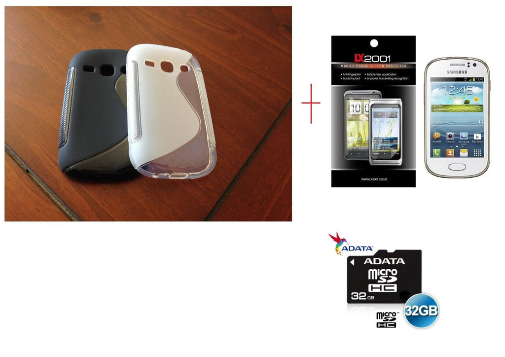 Samsung Galaxy Fame S6810 Gel Case + Screen Protector + 32GB MicroSD Card